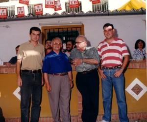 """Antonio Maíllo Cañadas, Antonio Muñoz """"Ortega"""", Juan Luna Delgado y Arcángel Bedmar en 1997."""