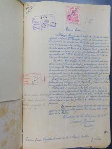 Hoja manuscrita por Manuel Hernández en julio de 1958, en la que solicita la anulación de sus antecedentes penales.