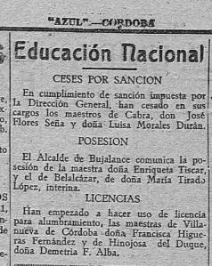 1940_DETALLE SANCION LUISA Y JOSE_Azul órgano de la Falange Española de las J.O.N.S. Año V Número 1043 - 1940 abril 19